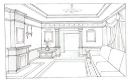 The interior of the living. The  interior hand drawn sketch interior design Royalty Free Stock Images