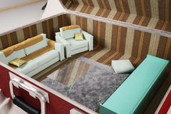 Interior living inside a suitcase. 3d illustration Stock Photos