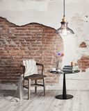 Interior living minimal space with wall decoration, round table and vintage chair Stock Photo