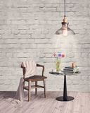 Interior living minimal space with wall decoration, round table and vintage chair Royalty Free Stock Photography