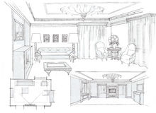 The interior of the living. The modern interior of the classic livingroom hand drawn sketch interior design Stock Photos