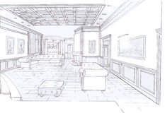 The interior of the living. The modern interior of the classic livingroom hand drawn sketch interior design Stock Image
