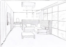The interior of the living. The modern interior of the livingroom hand drawn sketch interior design Stock Photos