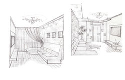 The interior of the living. The modern interior of the living room hand drawn sketch interior design Stock Photos