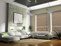 Interior living-room. Interior fashionable living-room 3D rendering royalty free stock images