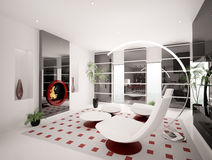 Interior of living room 3d render. Modern interior of living room with fireplace 3d render Stock Photography