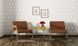 Interior of living room with armchairs 3d render Royalty Free Stock Images