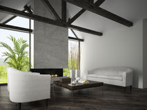 Interior of living room with  armchairs and fireplace 3D renderi Stock Images