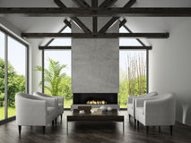 Interior of living room with  armchairs and fireplace 3D renderi Royalty Free Stock Photos