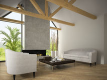 Interior of living room with  armchairs and fireplace 3D renderi Stock Image