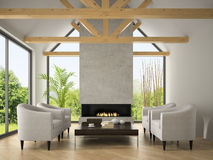 Interior of living room with  armchairs and fireplace 3D renderi Stock Photo