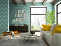 Interior of living room with blue wallpapers 3D rendering stock photos