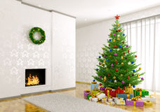 Interior of living room with christmas tree 3d render. Interior of living room with christmas tree, fireplace, gifts 3d render Royalty Free Stock Photos