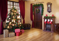 Interior living room with a Christmas tree