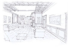 The interior of the living room. The classic interior of the livingroom hand drawn sketch interior design Stock Photography