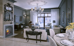 Interior living room in classic style Royalty Free Stock Images