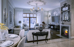 Interior living room in classic style Stock Photos