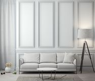 Interior of living room with classic wall, 3D Rendering.  Stock Image