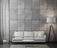 Interior of living room with concrete wall, 3D Rendering.  Royalty Free Stock Image