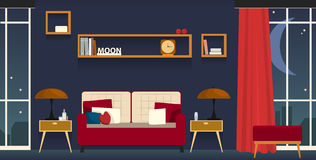 Interior-living room. Cosy living room with violet walls and panoramic windows in which moon and night city are represented Royalty Free Stock Image