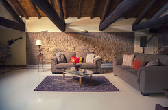 Interior of living room in countryside villa. In italian style royalty free stock photo
