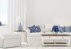 Interior of the living room. 3D illustration. Interior of the living room in white and blue color stock illustration