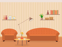 Interior of living room design in flat style with furniture, armchair, sofa, lamp, bookshelf and flowers on a table. Interior of living room design in flat stock illustration