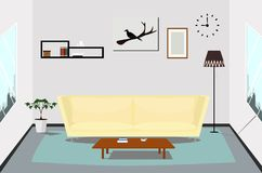 Interior living room design indoor. Room, living, interior, furniture, vector, home Royalty Free Stock Image