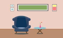 Interior living room design, presentation. Flat design illustration. Interior living room design, presentation. Flat design illustration sofa blue Stock Photos