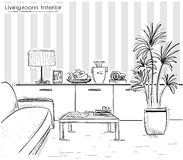 Interior of living room design.Vector black hand drawing illust Royalty Free Stock Image