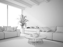 Interior of living room draw 3D rendering Royalty Free Stock Photography