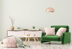 Interior of living room with dresser and armchair 3d rendering. Modern interior of living room with wooden dresser, brown armchair and ottoman over green wall 3d Stock Photo