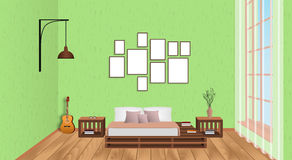 Interior of living room with empty frames, guitar, wood flooring and window. Loft design concept in hipster style. Vector illustration stock illustration