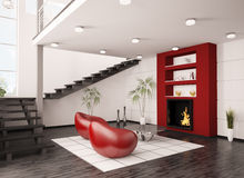 Interior of living room with fireplace 3d. Modern interior of living room with fireplace and staircase 3d render Royalty Free Stock Photos