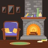 Interior living room with fireplace and armchair, reading room. vector illustration