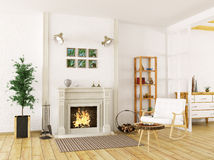 Interior of living room with fireplace 3d render Royalty Free Stock Photography