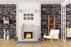 Interior of living room with fireplace 3d rendering. Cozy interior of living room with fireplace, rocking chair, brick wall 3d rendering Stock Images