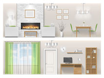 Interior of living room with fireplace, furniture. Interior of a bright living room with fireplace and furniture. Detailed vector illustration in a realistic Stock Images