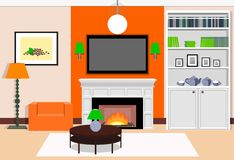 Interior living room with a fireplace. Vector illustration. Interior living room with a fireplace in the orange colors. Vector illustration Royalty Free Stock Photography