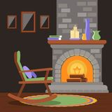 Interior of a living room with a fireplace and a rocking chair. royalty free illustration