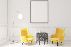 Interior of a living room with framed poster and two yellow armc. Interior of a living room with framed vertical poster, two yellow armchairs and a coffee table Stock Photo