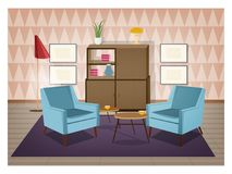 Interior of living room furnished in retro style. Old fashioned furniture and home decorations - armchairs, carpet Stock Images