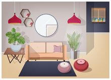 Interior of living room furnished with stylish comfortable furniture and home decorations - cozy sofa, coffee table. House plants, lamps, mirror, carpet and royalty free illustration