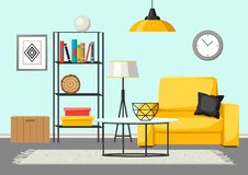 Interior living room. Furniture and home decor. Illustration in flat style royalty free illustration