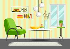 Interior living room. Furniture and home decor. Illustration in flat style vector illustration