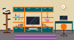 Interior of a living room with furniture, TV and a cute cat Royalty Free Stock Image