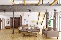 Interior of living room and hall 3d rendering Royalty Free Stock Photos