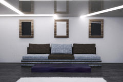 The interior of the living room in hi-tech style. 3D Illustration Stock Image