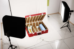 Interior living room inside a suitcase. 3d illustration Stock Images