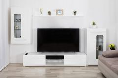 Interior Of Living Room. With Couch And Television royalty free stock photo